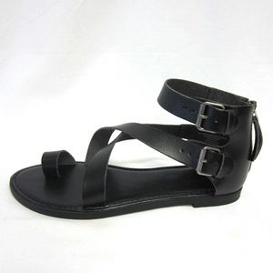 Black Toe Wrap Gladiator Sandals Size 7 Womans